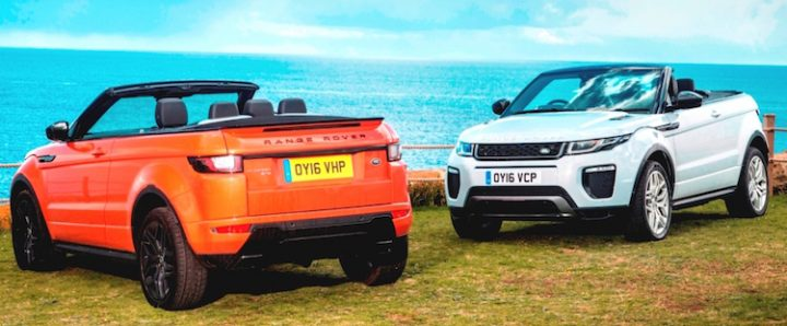 Back and front views of new Evoque Convertible