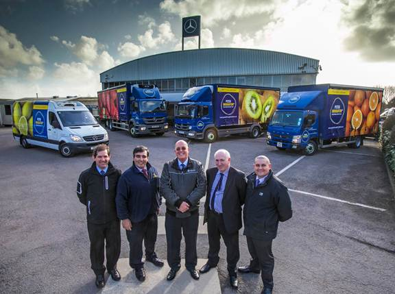 Pulling together: Nicholas Broughton, second right, with colleagues Jimmy Borg, second left, and Tim Morris, right, and, from Euro Commercials, Huw Salway, left, and Paul Reynolds, centre