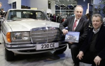 Classic choice: Mark and Martin (left & right) with a copy of their book and a W123 Coupe at Mercedes-Benz Swansea. series co-written by local expert Mark Cosovich with historian Martin Buckley and with a forward by ex-F1 driver Jody Scheckter.