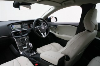 Front interior image of the charcoal/blonde leather upholstery, as fitted to the all-new Volvo V40