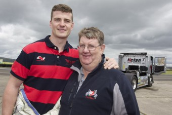 scott williams wales scrarlets rugby player and phil davies at truck press day.jpeg