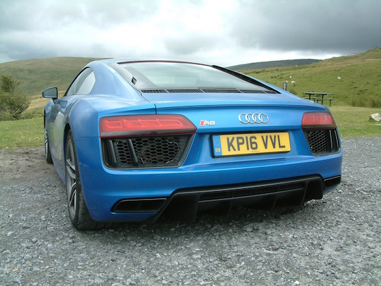 The view most get of the Audi R8 V10
